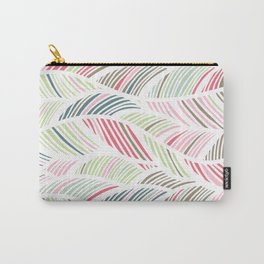 Palm Leaf, Striped Abstract Wave Pattern, Pastel Pink, Grey, Green, Blue Carry-All Pouch