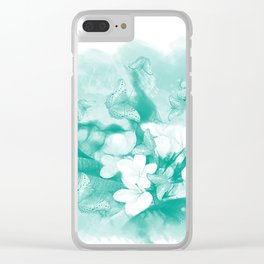Butterflies and tropical flowers in stunning teal Clear iPhone Case