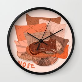 Nope -Red Lazy Cat Wall Clock