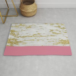 Faraldi gold marble and pink rose Rug