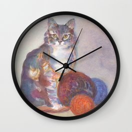 Purling Puss Wall Clock