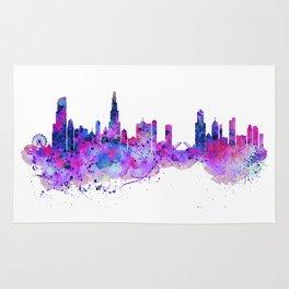 Chicago Watercolor Skyline 2 Rug