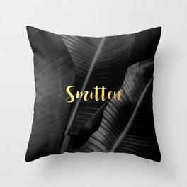 Smitten gold - bw banana leaf Throw Pillow
