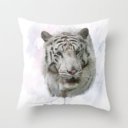 Digital Painting of White Tiger Throw Pillow