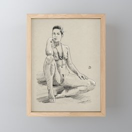 Model pose sketch 09 Framed Mini Art Print