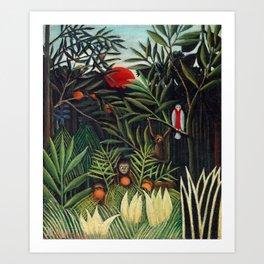 Henri Rousseau - Monkeys and Parrot in the Virgin Forest Art Print