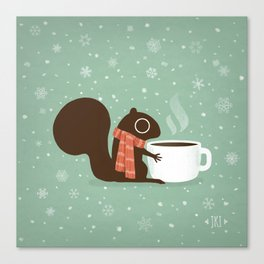 Squirrel Coffee Lover Holiday Canvas Print