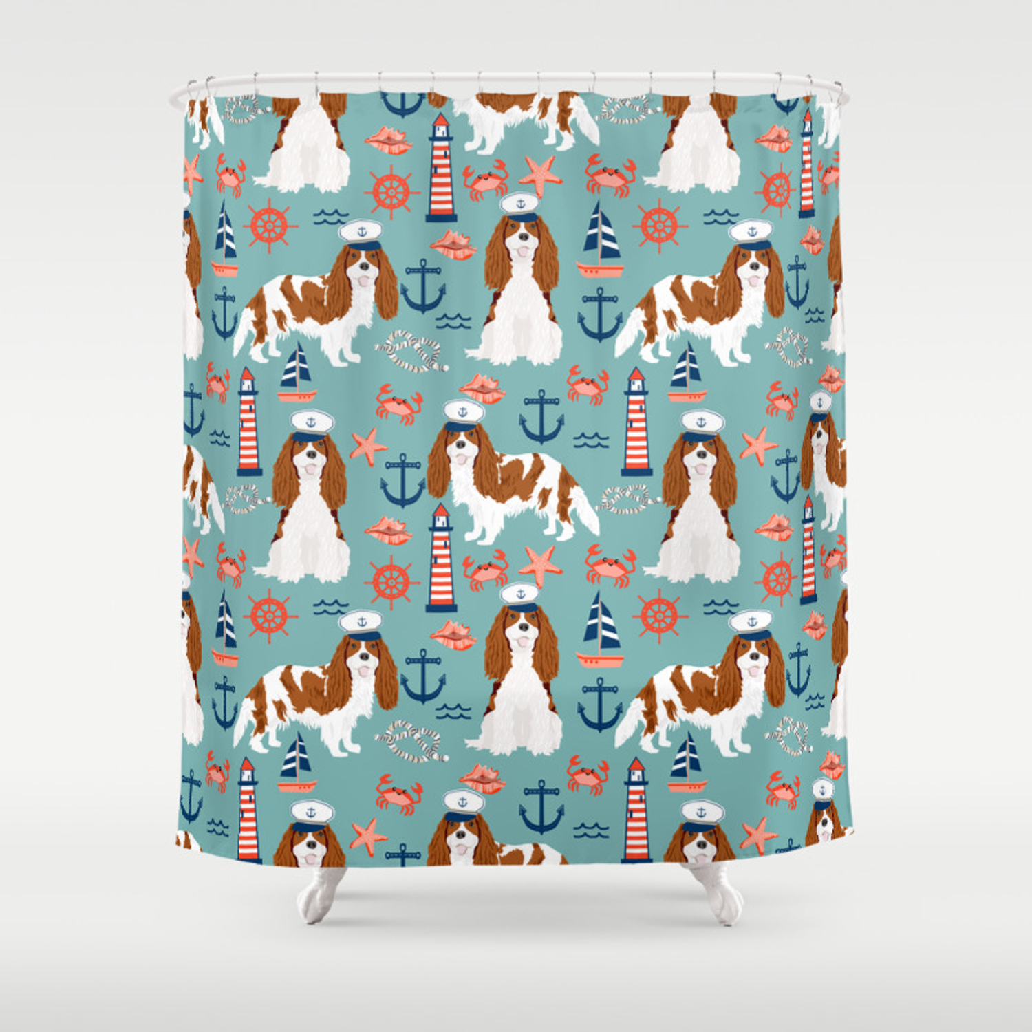 Cavalier King Charles Spaniel Nautical Sailing Lighthouse New England Sailboats Shower Curtain