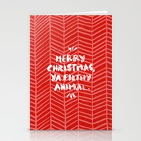 Stationery Cards featuring Merry Christmas, Ya Filthy Animal – Red by Cat Coquillette