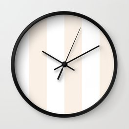 Wide Vertical Stripes - White and Linen Wall Clock