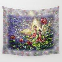 buddha Wall Tapestries featuring Buddha  by Harsh Malik