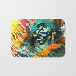 Bengal Tiger in  Abstract Paint Digital art Bath Mat
