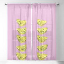 Lemon Slices Pink Sheer Curtain