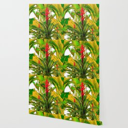 WHITE ABSTRACT GREEN-YELLOW JUNGLE & TROPICAL RED FLOWERS Wallpaper