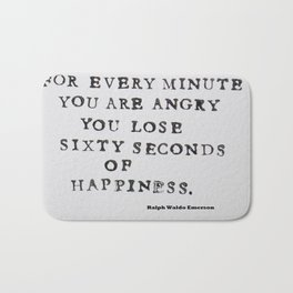 Happiness Ralph Waldo Emerson Quote Bath Mat