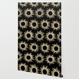 Art Deco Starburst in Black Wallpaper