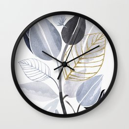 Leaf Party - Watercolor Nature Collage Wall Clock