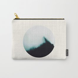 Mid Century Modern Round Circle Photo Minimal Turquoise Blue Foggy Pine Forest Silhouette Carry-All Pouch