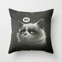 grumpy Throw Pillows featuring No! by Dr. Lukas Brezak