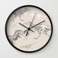 dinosaurs Wall Clocks featuring Dinosaurs by Cybercatwalk