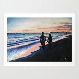 Lovers Stroll by the Beach Art Print