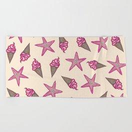 Girly Pink Summer Starfish and Ice Cream Cones Beach Towel