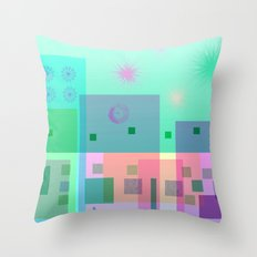 Turquoise Square Dance Throw Pillow