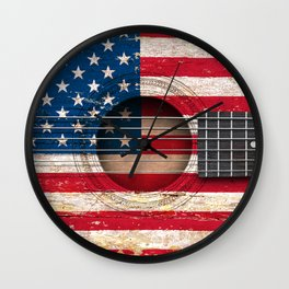 Old Vintage Acoustic Guitar with American Flag Wall Clock