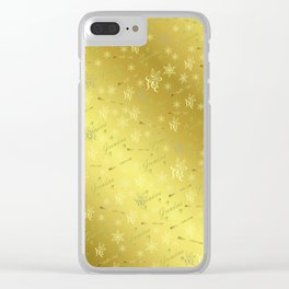 grandma Golden merry christmas font with stars, ornaments elegant festive gold hearts in gold Clear iPhone Case