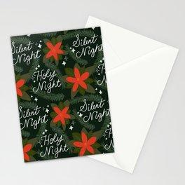 Silent Night Holy Night Retro Holiday Winter Music Christmas Pattern Stationery Cards