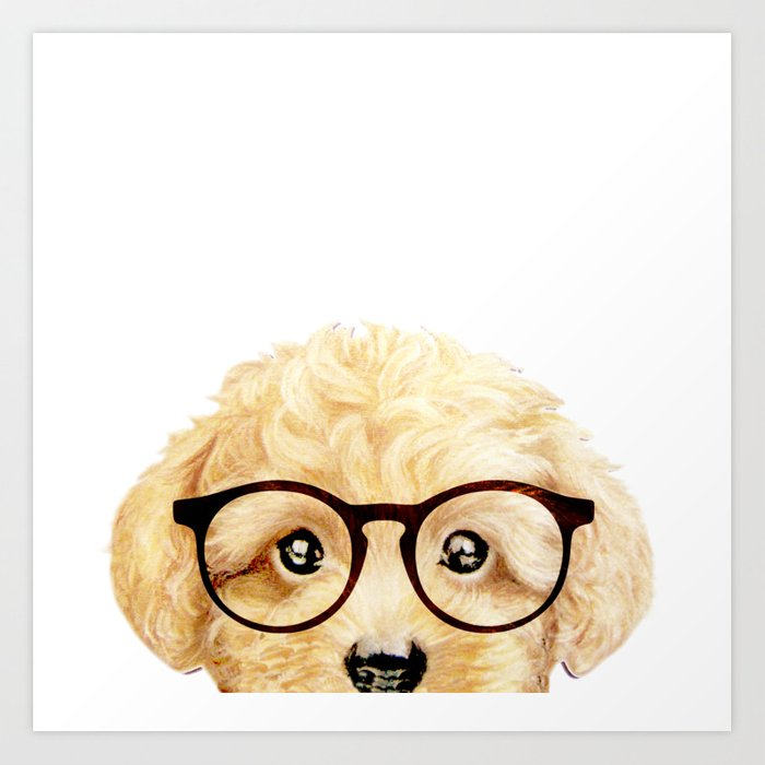 Toy poodle blonde with glasses Art Print by miartdesigncreation ...