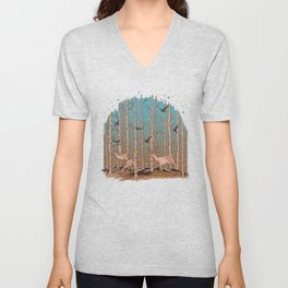 Birch Trees with Birds And Deer Unisex V-Neck