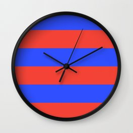 Even Horizontal Stripes, Blue and Red, XL Wall Clock