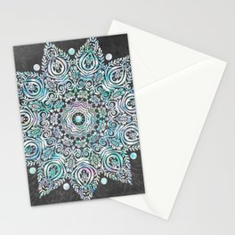 Mermaid Mandala on Deep Gray Stationery Cards