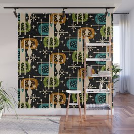 Retro Atomic Mid Century Pattern Black Orange Green and Turquoise Wall Mural