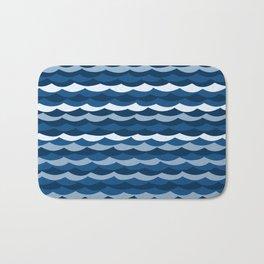 Classic Blue Wave Pattern Bath Mat