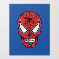 superheros Canvas Prints featuring Spidey Sugar Skull by Clark Street Press