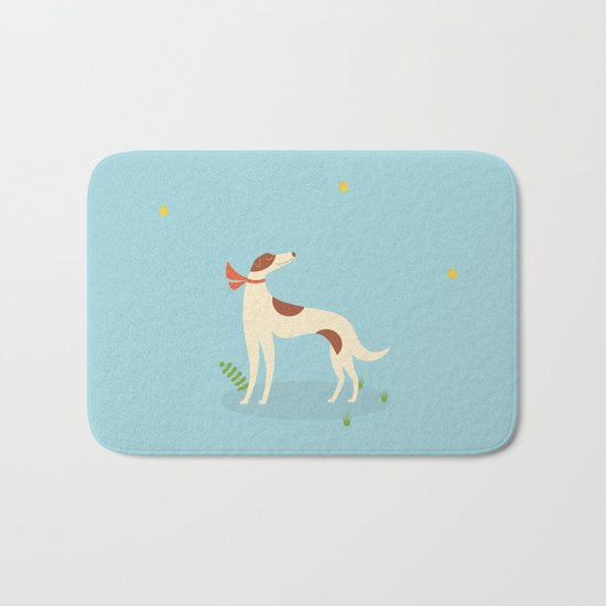 Borzoi And Butterfly Bath Mat
