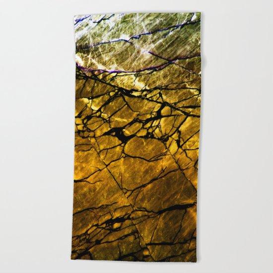 Gold Labradorite Crystal Beach Towel