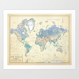 Antique Inspired World Map [shaded relief] Art Print
