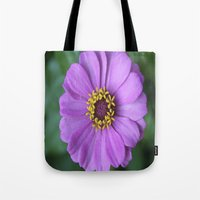 rileigh smirl Tote Bags featuring Purple Flower by Rileigh Smirl