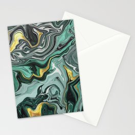 Emerald Green and Gold Melted Marble Stationery Cards