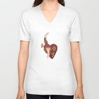 valentines V-neck T-shirts featuring Steampunk Valentines by S. Vaeth