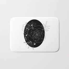 Black & White Floral Art Bath Mat
