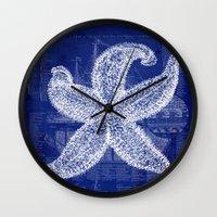 blueprint Wall Clocks featuring Vintage Starfish Blueprint by Fallen Apple Designs