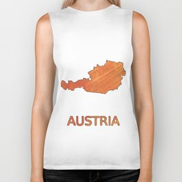 Austria map outline Sunny orange clouded watercolor Biker Tank