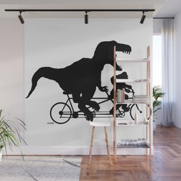 Gone Squatchin cycling with T-rex Wall Mural