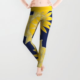 Sunshine yellow navy blue abstract floral mandala Leggings