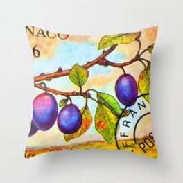 Branch of a Plum tree in Autumn Throw Pillow