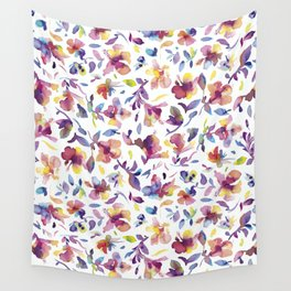 watery hibiscus flowers - Multicolored tropical pattern Wall Tapestry